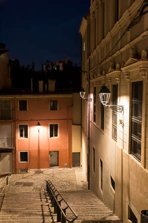 catalunya: Girona (Gerona, Catalunya, Spain): old typical street by night Stock Photo