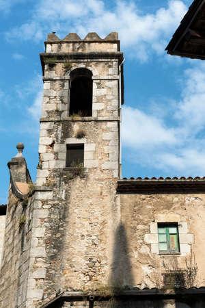catalunya: Girona (Gerona, Catalunya, Spain): gothic church of Sant Feliu, exterior Stock Photo