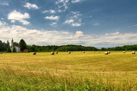 country church: Country landscape and little church near Gorla Minore (Varese, Lombardy, Italy) at summer Stock Photo