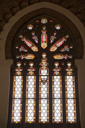 wood railways: Toledo (Castilla-La Mancha, Spain): interior of the historic railway station. A stained glass window