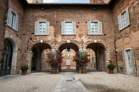 Fagnano Olona (Varese, Lombardy, Italy): the medieval castle, built in the 15th century, a court