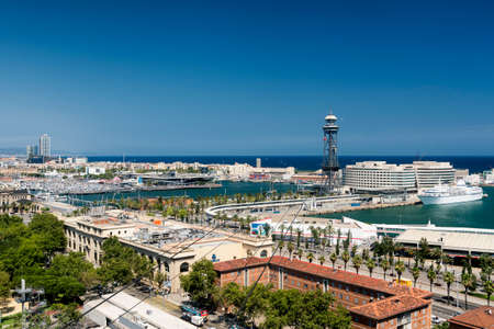 montjuic: Barcelona (Catalunya, Spain): panoramic view from the hill of Montjuic (Montjuich) of the Mediterranean Sea and the port Editorial