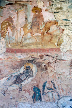 The archeological area of Castelseprio (Varese, Lombardy, Italy): ruins of a village destroyed in the 13th century. The church, mural paintings. Reklamní fotografie