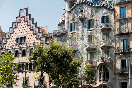 catalunya: Barcelona (Catalunya, Spain): artistic buildings along the Passeig de Gracia Stock Photo