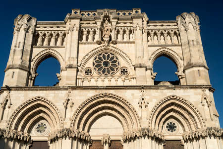 Cuenca (Castilla-La Mancha, Spain), facade of the medieval cathedral, in gothic style
