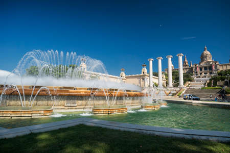 montjuic: Barcelona (Catalunya, Spain): the hill of Montjuich and the Museum of Catalan Art and fountains