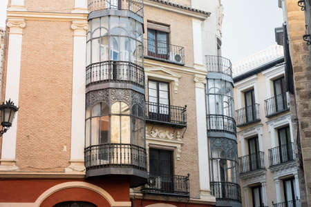verandas: Toledo (Castilla-La Mancha, Spain): old typical buildings in the historic city with verandas