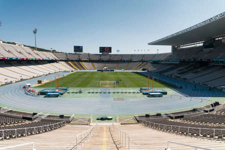 montjuic: Barcelona (Catalunya, Spain): the Olympic Stadium, on the hill of Montjuic Editorial