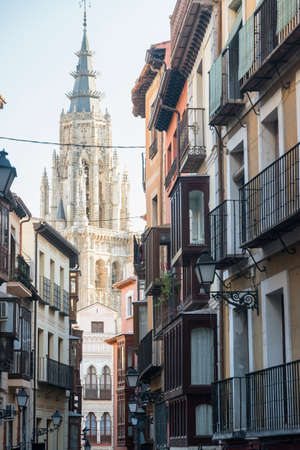 verandas: Toledo (Castilla-La Mancha, Spain): old typical buildings in the historic city with verandas, and belfry of the gothic cathedral