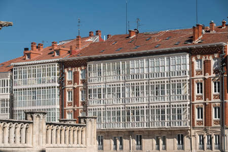 verandas: Burgos (Castilla y Leon, Spain): facade of historic buildings with balconies and verandas