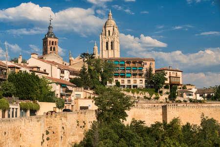 Segovia (Castilla y Leon, Spain): cityscape with towers of historic churches