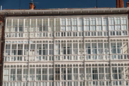 verandas: Burgos (Castilla y Leon, Spain): facade of historic building with balconies and verandas