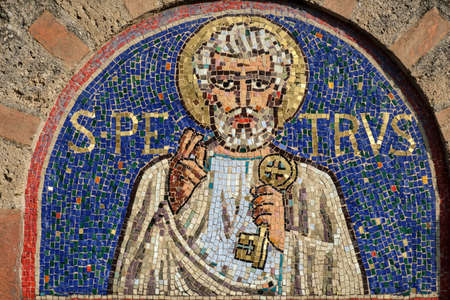 monza: Agliate Brianza (Monza, Lombardy, Italy): facade of the medieval church of Saints Peter and Paul, built from the 11th century, mosaic representing Saint Peter
