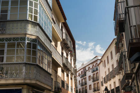 verandas: Jaen (Andalucia, Spain):  old street, buildings with typical verandas