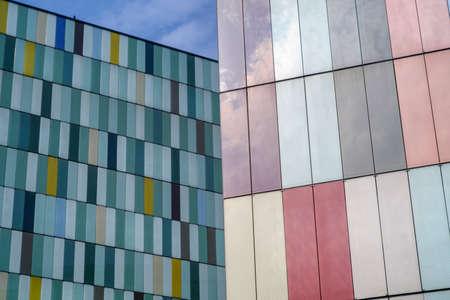 via: Milan (Lombardy, Italy): modern colorful office buildings along via Roberto Bracco Stock Photo