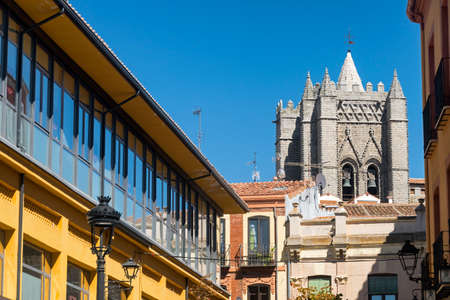 portico: Avila (Castilla y Leon, Spain): belfry of the medieval cathedral and other historic buildings