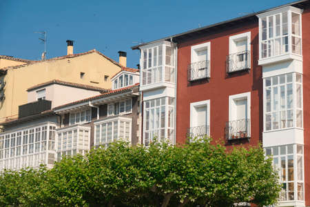 verandas: Burgos (Castilla y Leon, Spain): exterior of historic buildings with typical verandas