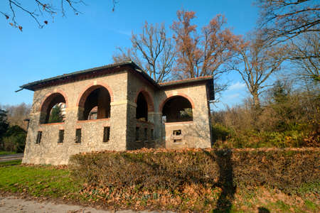 Monza (Brianza, Lombardy, Italy): old farmstead of Mulini Asciutti, into the Park, in november