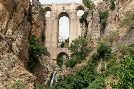 Ronda (Andalucia, Spain): view of the historic city over the canyon, the famous bridge