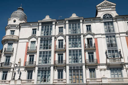 verandas: Valladolid (Castilla y Leon, Spain): historic building with typical balconies and verandas Stock Photo