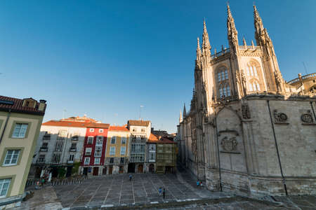 verandas: Burgos (Castilla y Leon, Spain): exterior of the medieval cathedral, in gothic style and buildings with typical verandas