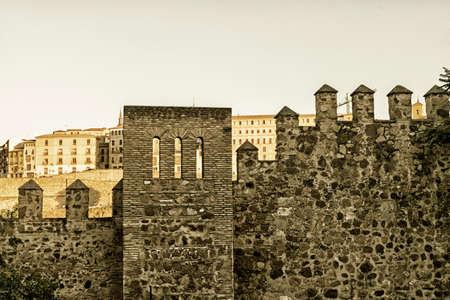 toledo: Toledo (Castilla-La Mancha, Spain): the medieval walls at evening. Sepia