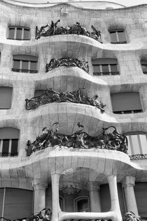 Barcelona (Catalunya, Spain): house Mila, or Pedrera, famous building by Gaudi along the Paseig de Gracia. Black and white
