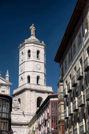 verandas: Valladolid (Castilla y Leon, Spain): historic buildings  with typical balconies and verandas, and the cathedral Stock Photo