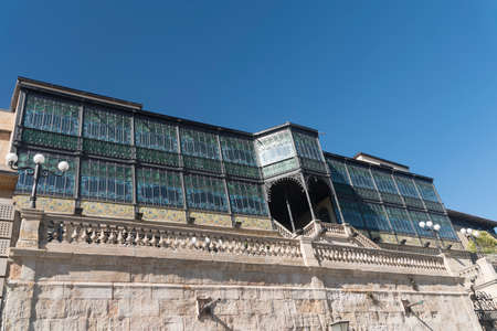 verandas: Salamanca (Castilla y Leon, Spain): facade of historic building with verandas along the medieval walls
