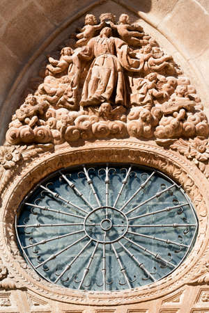 Burgos (Castilla y Leon, Spain): exterior of the medieval cathedral, in gothic style. Rose window Stock Photo