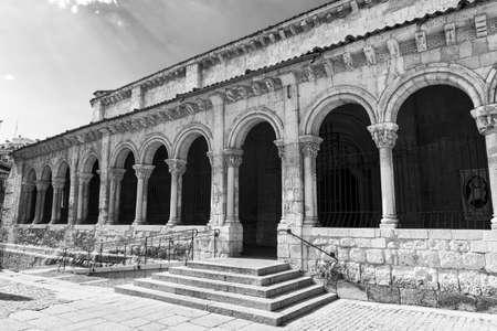 millan: Segovia (Castilla y Leon, Spain): exterior of the medieval church of San Millan. Black and white Stock Photo