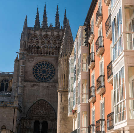 verandas: Burgos (Castilla y Leon, Spain): exterior of the medieval cathedral, in gothic style and houses with the typical verandas