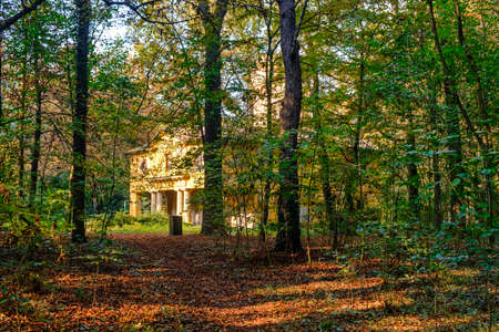 monza: Monza (Brianza, Lombardy, Italy): the park at fall (october), historic Cantone Mill Stock Photo