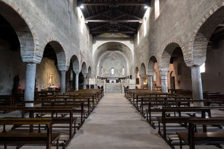11th century: Agliate Brianza (Monza, Lombardy, Italy): interior of the medieval church of Saints Peter and Paul, built from the 11th century
