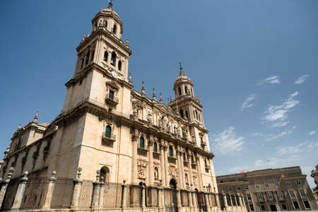 Jaen (Andalucia, Spain): the medieval cathedral, built from 13th to 18th century, in Baroque style. Facade
