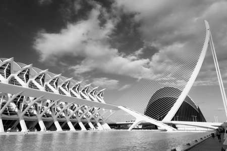 Valencia (Spain), the City of Arts and Sciences, projected by Santiago Calatrava and Felix Candela. Black and white