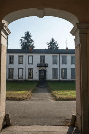 17th: Monza (Brianza, Lombardy, Italy): courtyard of Villa Mirabello, historic palace built in 17th century Stock Photo