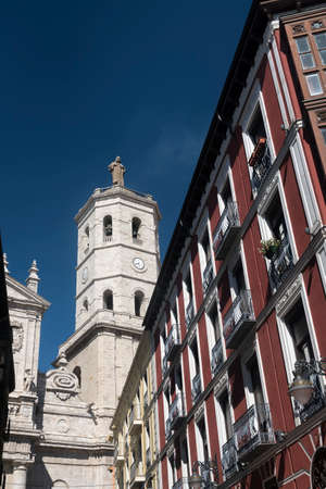 verandas: Valladolid (Castilla y Leon, Spain): historic buildings  with typical balconies and verandas, and the cathedral Editorial