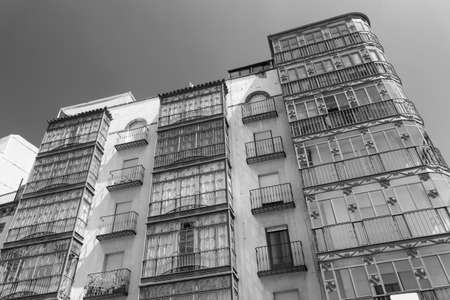 verandas: Jaen (Andalucia, Spain): facade of building with typical verandas. Black and white
