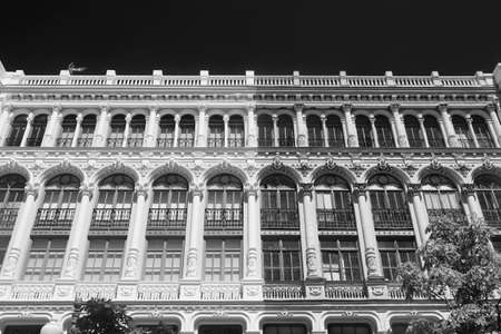 verandas: Valladolid (Castilla y Leon, Spain): historic buildings  with typical balconies and verandas. Black and white