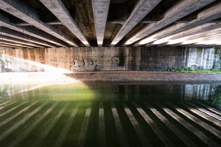 Monza (Brianza, Lombardy, Italy): under a bridge over the Villoresi canal, from the bicycle and pedestrian road