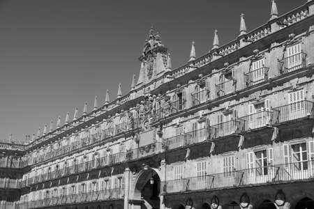 salamanca: Salamanca (Castilla y Leon, Spain): the historic Plaza Mayor, the main square of the city. Black and white