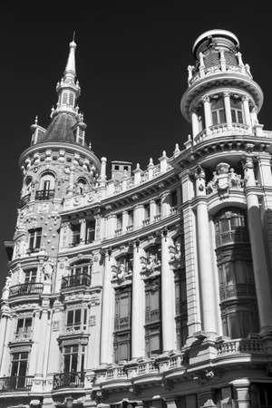 Madrid (Spain): historic building near Plaza Mayor. Black and ehite