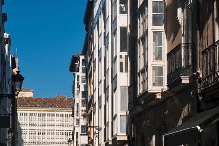 verandas: Burgos (Castilla y Leon, Spain): exterior of historic buildings along Calle San Juan, with typical verandas Stock Photo