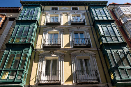 verandas: Valladolid (Castilla y Leon, Spain): historic buildings  with typical balconies and verandas Stock Photo