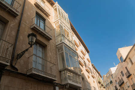 Segovia (Castilla y Leon, Spain): old street with the typical verandas