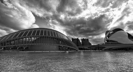 발렌시아 (스페인), 산티아고 칼라 트라 바 (Santiago Calatrava)와 펠릭스 칸델라 (Felix Candela)가 투영 한 예술 및 과학 도시. 검정색과 흰색