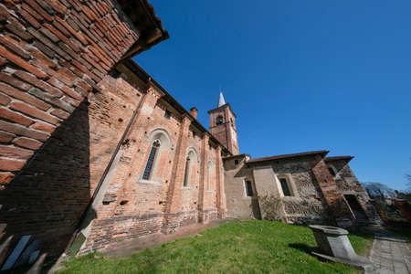 Castiglione Olona (Varese, Lombardy, Italy), historic town. Medieval church known as Collegiata. Fisheye lens. Stock Photo