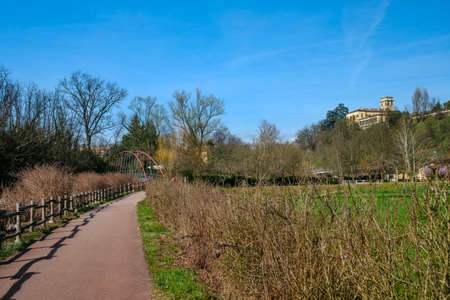 monza: The bicycle path of the Lambro valley in Brianza (Monza, Lombardy, Italy) in March (late winter)
