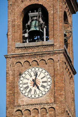 Milan (Lombardy, Italy): belfry of the SantEufemia church, built from the 16th century, in neo-Romanesque and neo-Gothic style